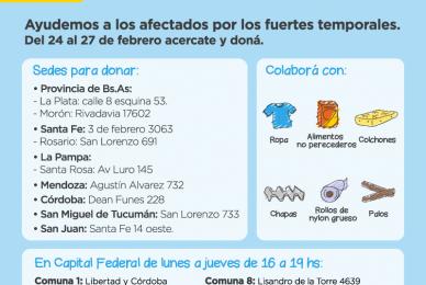 CAMPAÑA SOLIDARIA:   Sumate a la campaña solidaria para ayudar a los inundados de La Pampa, San Juan y Tucumán