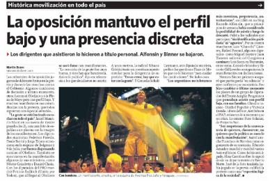 CLARIN 09/11/2012  La oposición mantuvo el perfil bajo y una presencia discreta
