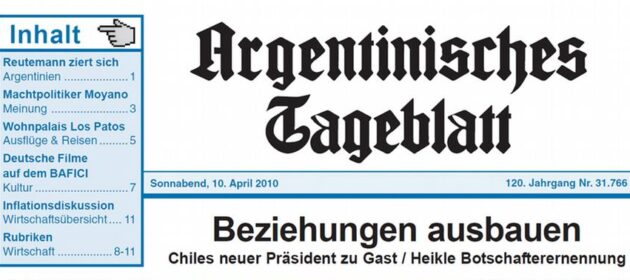 CARTA DE LECTORES EN ARGENTINISCHES TAGEBLATT